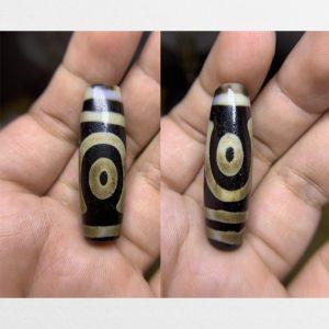 Dzi bead A01 Thiên châu 2 mắt hàng cận cổ khảm vân kiểu xưa