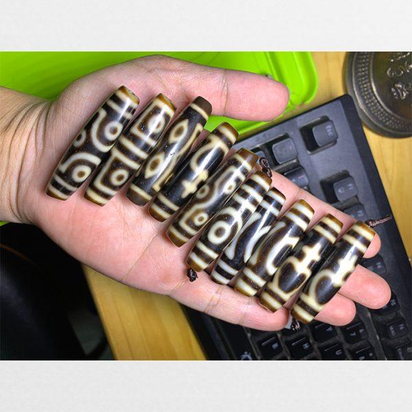 Tổng hợp đá dzi bead thân dài hàng C các viên màu ivory tuyển chọn