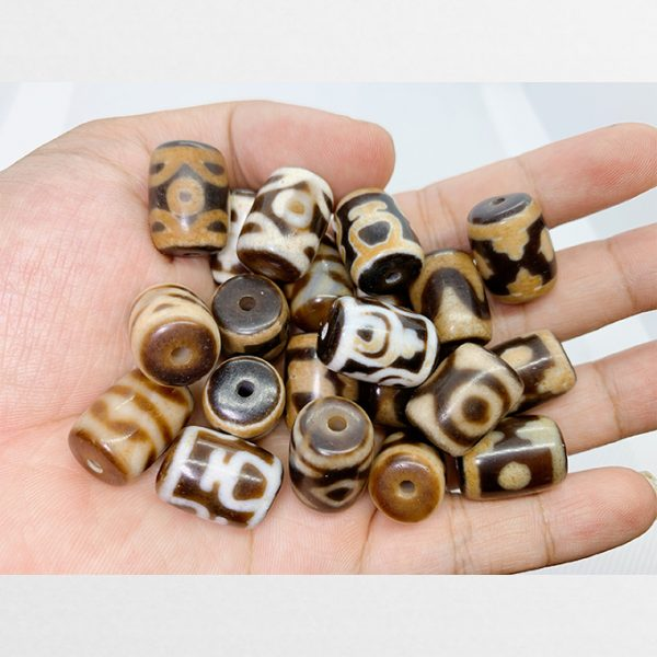 Đá dzi bead thiên châu trụ ngắn giá rẻ các vân mắt phổ biến