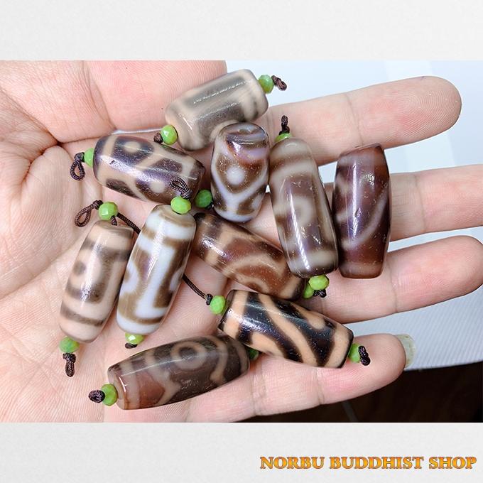 10 viên dzi bead hàng A thân ngọc size ngắn dễ mix nhiều vân độc lạ chất siêu đẹp