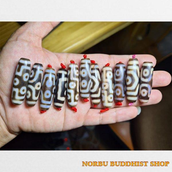 11 viên đá dzi bead hàng B với chu sa dải mạnh mẽ size ngắn dễ mix vòng và đẹo chất đẹp