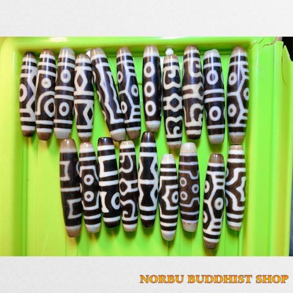 20 viên dzi bead cùng chất thân dài nâu đen vân trắng hàng B nhiều vân lạ đẹp