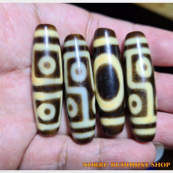 4 viên dzi bead ivory size ngắn giá rẻ gồm 4 mắt thiên địa 6 mắt