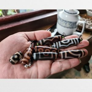 7 viên đá dzi bead thân ngọc hàng A hiếm gặp chất lượng vân đẹp