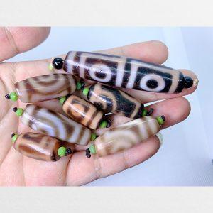7 viên Dzi bead thân ngọc hàng A AVIP chất lượng đẹp đặc biệt viên 4 mắt thân ngọc bigsize cực hiếm