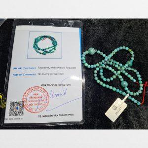 Chuỗi tràng hạt lam ngọc Turquoise thiên nhiên 5mm từ Lhasa Tibet chất đẹp