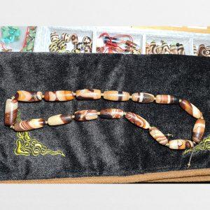 Dây đá dzi bead mã não thiên nhiên Tây Tạng phong hóa mạnh mẽ