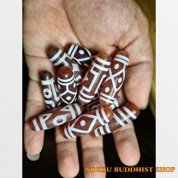 Tổng hợp đá dzi bead thân hồng vân trắng các vân lạ giá tốt
