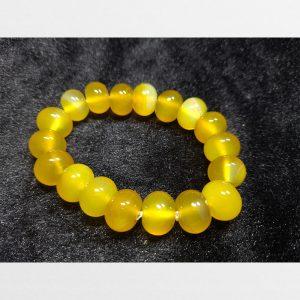 Vòng tay mã não vàng hạt bo tròn dẹt vàng óng ánh đẹp size 14mm