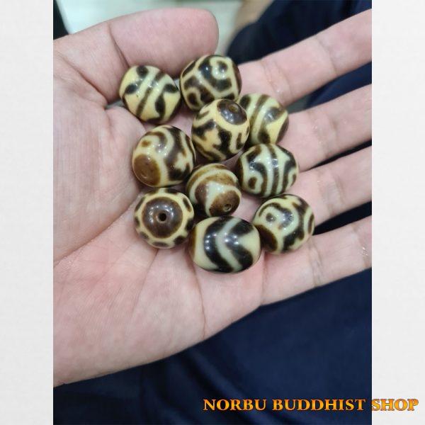 10 vien dzi bead tròn màu ivory đẹp với đầy đủ vân