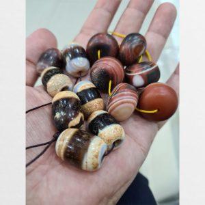 Chong dzi bead 1 sọc trụ lu thống đẹp với 6 viên mã não Tibet
