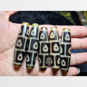 Dzi bead 5 viên 9 mắt lá bố đề Bodhi dzi màu ivory chất đẹp