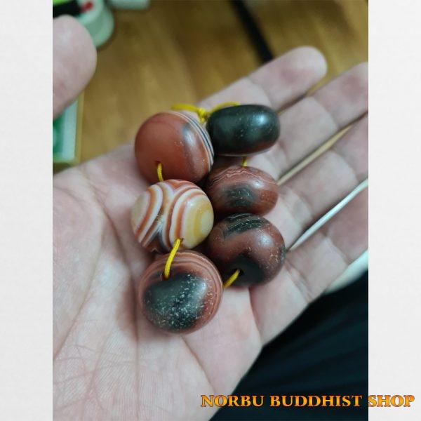 Mã não Tây Tạng 6 viên lu thống Agate già mix vòng với dzi vân nổi đẹp