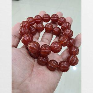 Vòng mã não bí ngô đỏ Tibet 2 chiếc chất đá già lâu năm