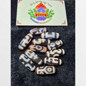 BST dzi bead 11 viên size ngắn lên chu sa với nhiều vân hoa văn đẹp mắt chất già