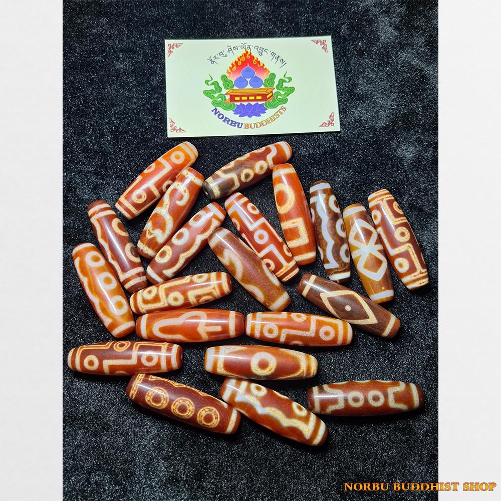 BTS đá dzi bead thân đỏ hàng C cỡ vừa nhiều vân đẹp với lớp phong hóa mạnh mẽ