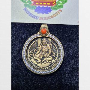 Mặt đeo cổ hình ngài Hoàng Thần Tài Zambala bọc đồng đính đá hàng Antique Tibet
