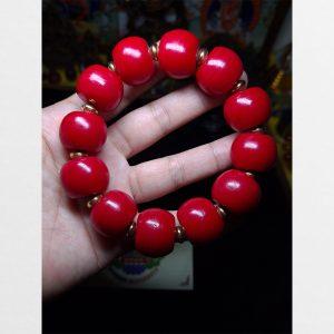 Vòng tay lưu ly hạt đỏ bản lớn hạt lớn 20mm chất đẹp bóng Antique Tibet