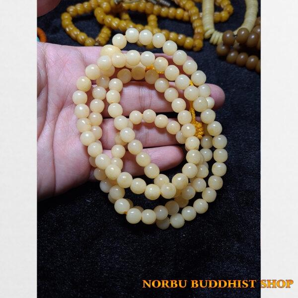 Chuỗi hạt xương trâu yak tròn hóa ngọc chất đẹp như ngà từ Tibet