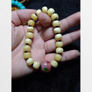 Chuỗi vòng mix hạt xương yak với lưu li màu Tibet đẹp