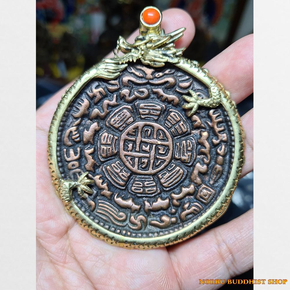 Cửu cung Văn Thù Bát Quái Melong cỡ lớn bọc rồng antique 17