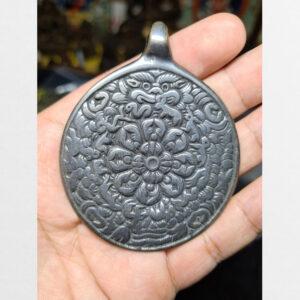 Cửu cung Văn Thù Bát Quái Melong cỡ lớn nền đen bạc antique 16