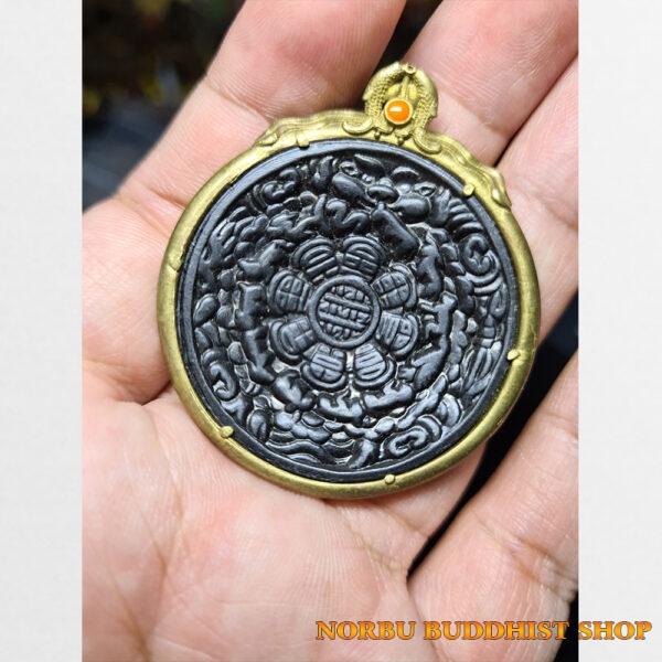 Cửu cung Văn Thù Bát Quái Melong cỡ vừa bọc đồng nền đen antique 08