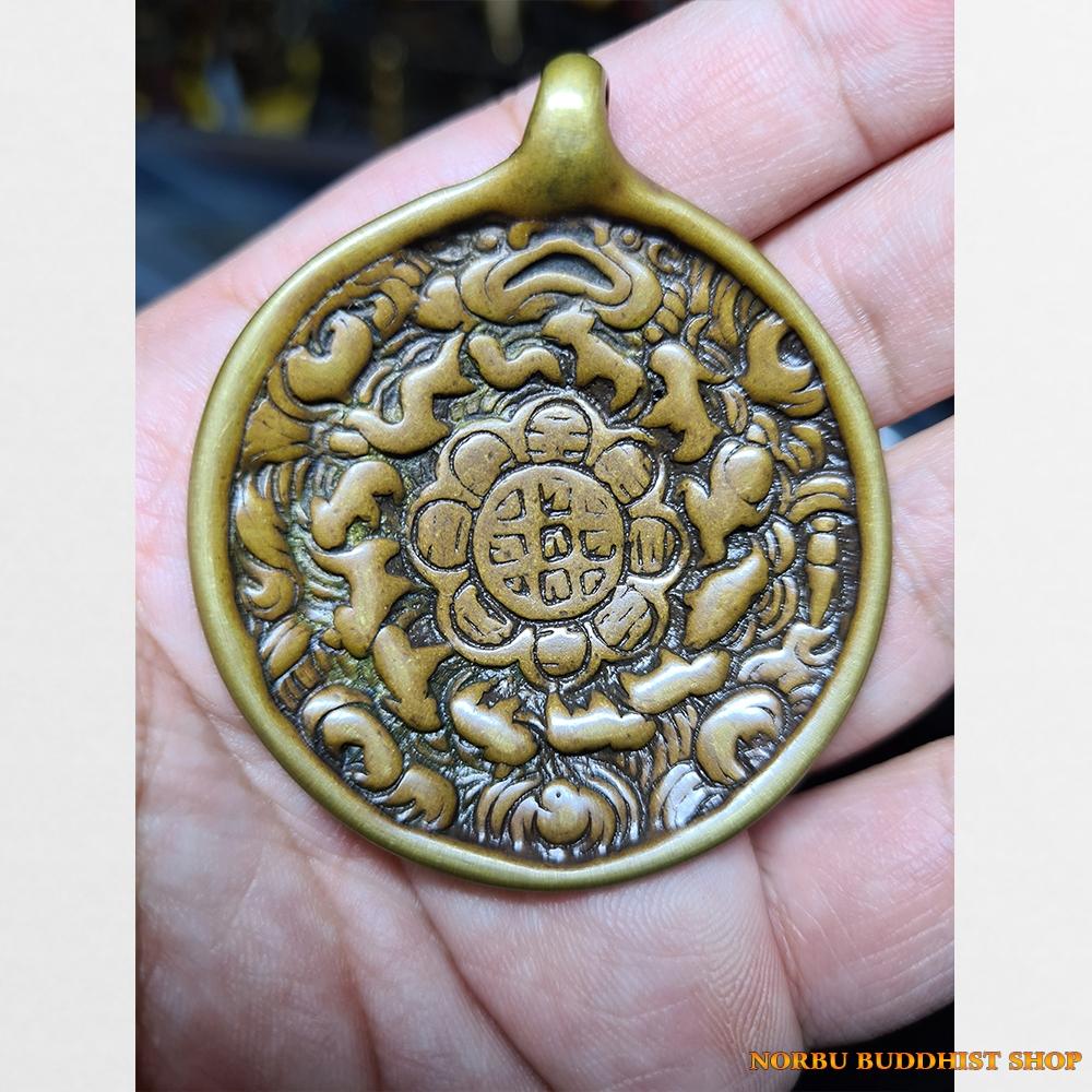 Cửu cung Văn Thù Bát Quái Melong cỡ vừa bọc đồng nền vàng antique 09