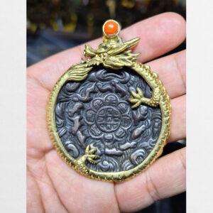 Cửu cung Văn Thù Bát Quái Melong cỡ vừa bọc rồng nền đen 10