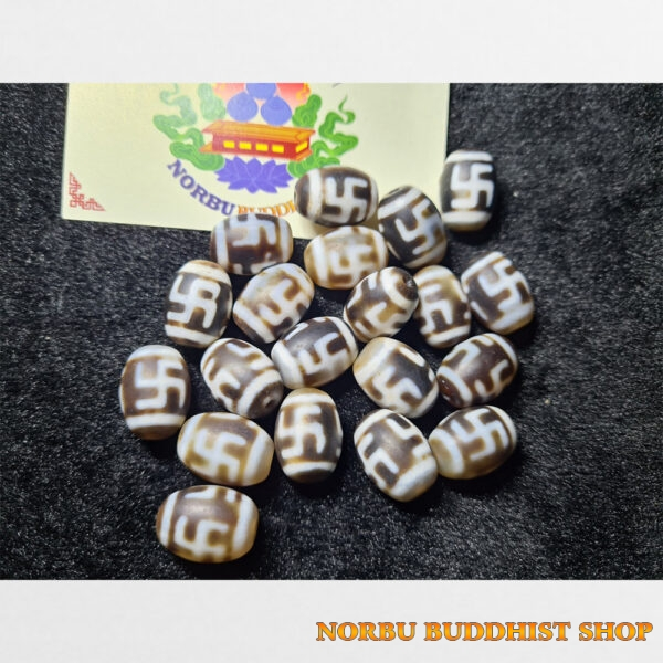 Dzi bead hạt tròn chữ vạn đôi chất đẹp giá tốt