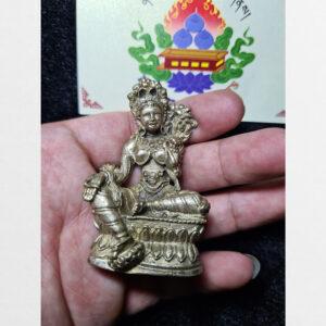Tượng mini ngài Tara Xanh tráng bạc thủ công cỡ nhỏ Antique diện hiếm gặp