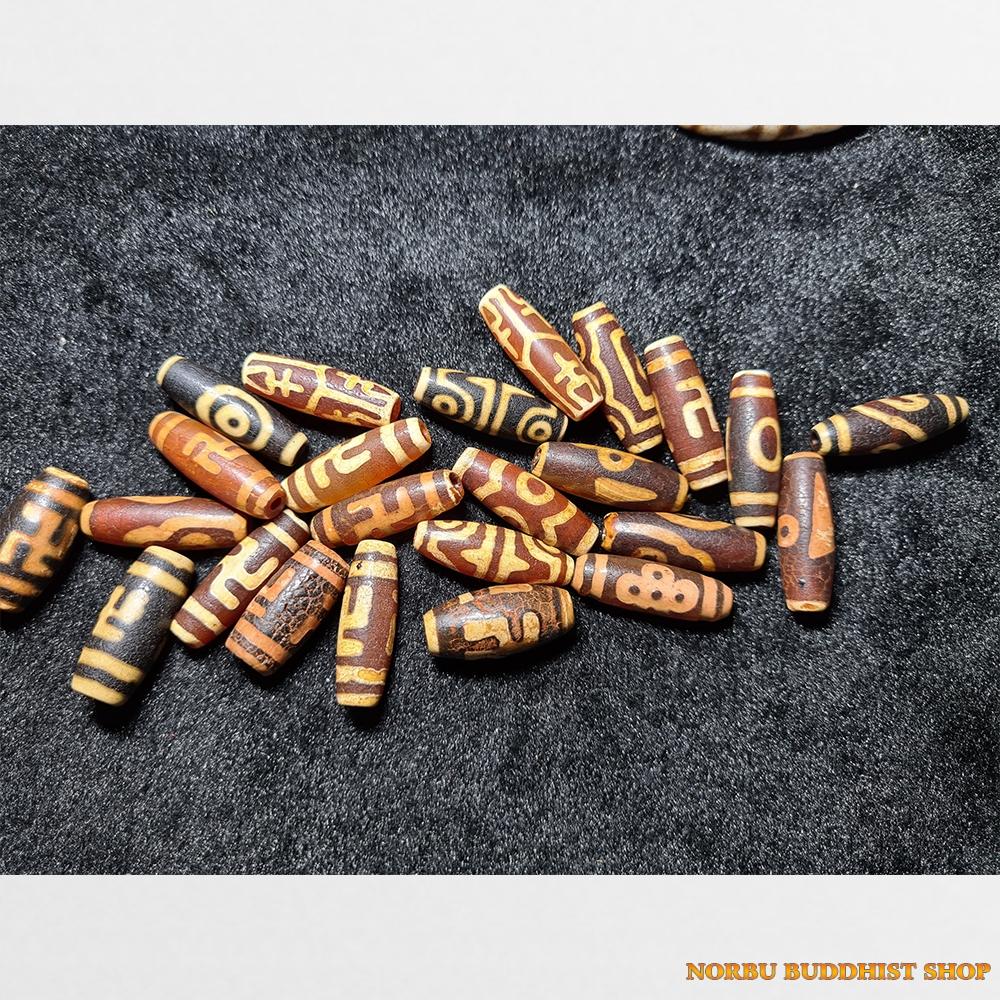 Dzi bead phong hóa mạnh thân nâu vân vàng các loại vân đẹp