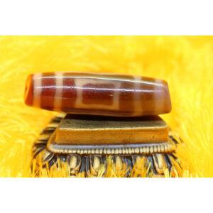 Dzi bead thiên địa mắt Phật kép vân hiếm gặp thân ngọc A 49