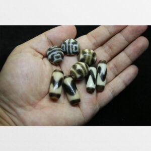 Cặp dzi bead hoa sen và răng hổ tròn với 2 cặp dzi răng hổ dài