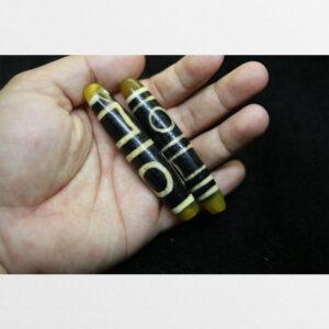 Cặp dzi bead thiên địa đôi thân dài 2 đầu vàng