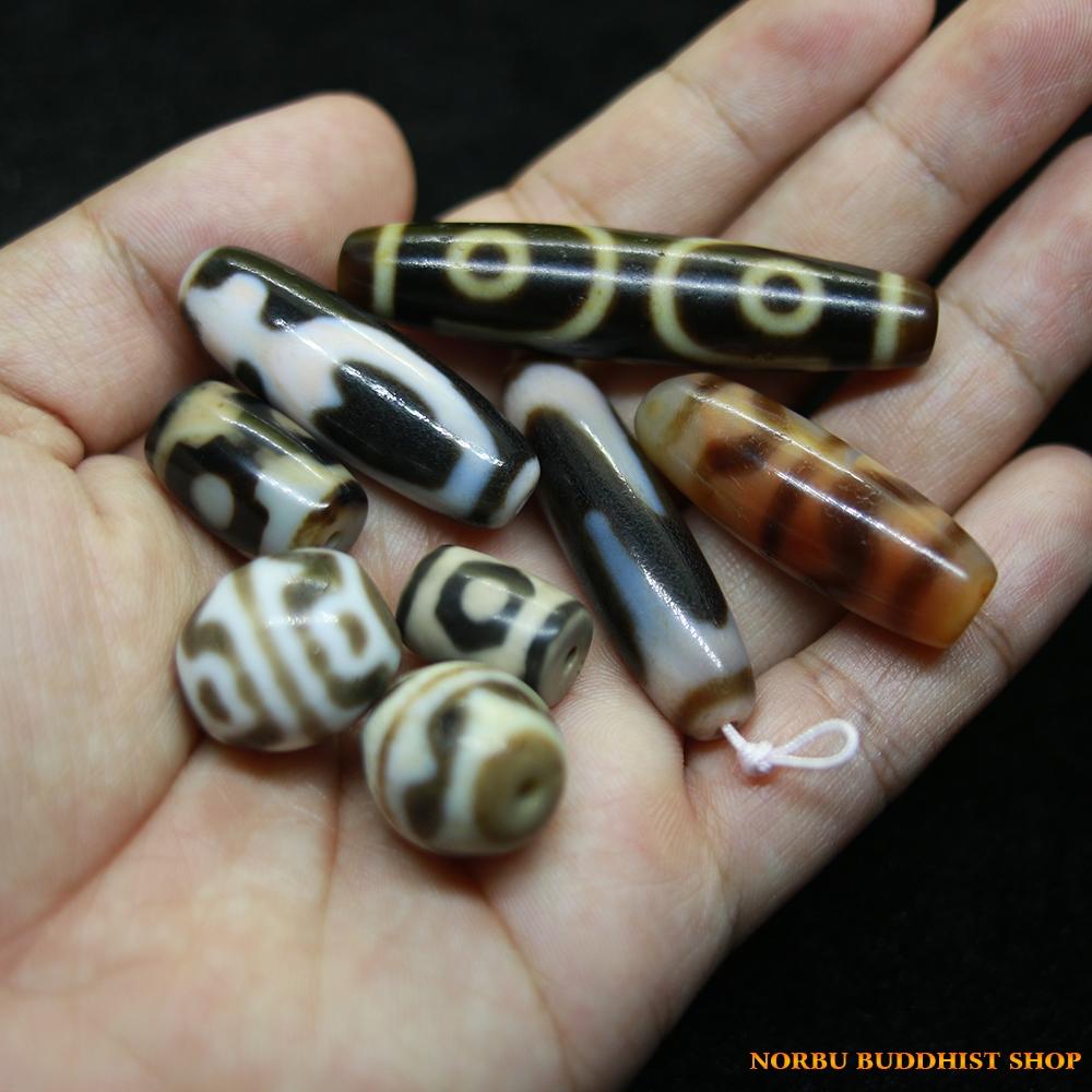 Dzi bead 3 mắt bảo bình răng hổ hoa sen 3 mắt chữ thập chất đẹp