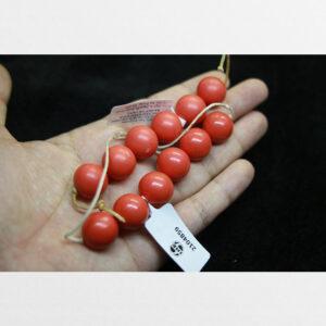 San hô đỏ 2 dây 12 hạt tròn rời kèm kiểm định