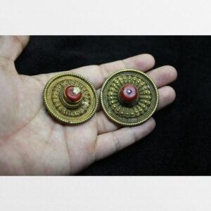 Thokcha 2 mắt khuy cài áo người Tây Tạng Tibet đính lưu li