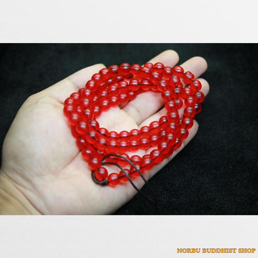 Tràng hạt 108 lưu li đỏ tươi trong