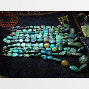 5 dây đá lam ngọc turquoise thiên nhiên hạt lớn sưu tầm từ Nepal