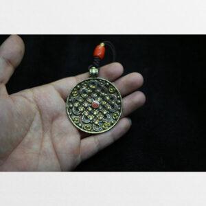 Mặt mandala bằng đồng Tibet đính hạt đẹp sưu tầm