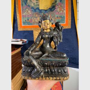 Khách đã thỉnh: Tượng cổ ngài Tara xanh từ Tibet