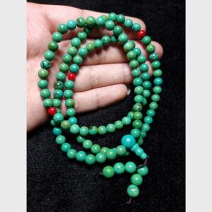 Chuỗi lam ngọc turquoise 7mm 108 hạt từ Tibet đã mix giá tốt