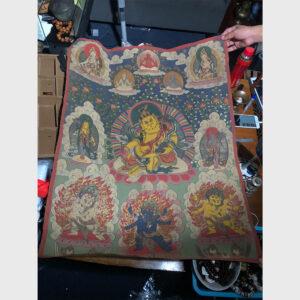 Thangka vẽ tay Tibet ngài Hoàng Thần Tài Zambala hiếm gặp