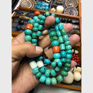 Chuỗi lam ngọc turquoise cổ mix san hô cổ từ Lhasa